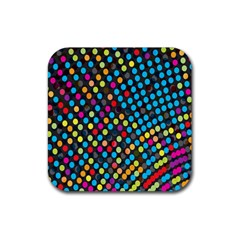 Polkadot Rainbow Colorful Polka Circle Line Light Rubber Square Coaster (4 Pack)  by Mariart
