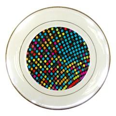 Polkadot Rainbow Colorful Polka Circle Line Light Porcelain Plates by Mariart