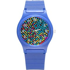 Polkadot Rainbow Colorful Polka Circle Line Light Round Plastic Sport Watch (s) by Mariart