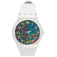 Polkadot Rainbow Colorful Polka Circle Line Light Round Plastic Sport Watch (m) by Mariart