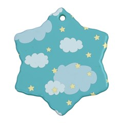 Stellar Cloud Blue Sky Star Snowflake Ornament (two Sides) by Mariart