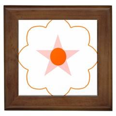 Test Flower Star Circle Orange Framed Tiles by Mariart