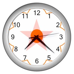 Test Flower Star Circle Orange Wall Clocks (silver)  by Mariart