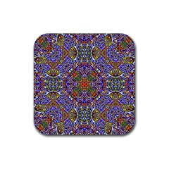 Oriental Pattern 01a Rubber Square Coaster (4 Pack)  by MoreColorsinLife