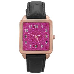 Oriental Pattern 02c Rose Gold Leather Watch  by MoreColorsinLife