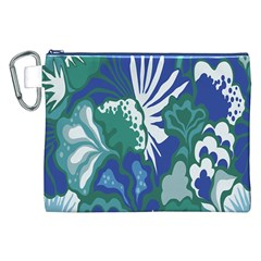 Tropics Leaf Bluegreen Canvas Cosmetic Bag (xxl) by Mariart