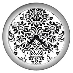 Vintage Damask Black Flower Wall Clocks (silver)  by Mariart