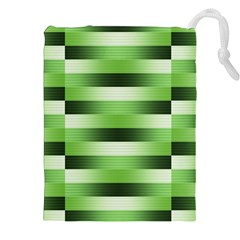 View Original Pinstripes Green Shapes Shades Drawstring Pouches (xxl) by Mariart
