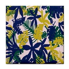 Tropics Leaf Yellow Green Blue Tile Coasters by Mariart