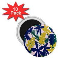 Tropics Leaf Yellow Green Blue 1 75  Magnets (10 Pack)  by Mariart