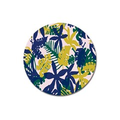 Tropics Leaf Yellow Green Blue Magnet 3  (round) by Mariart
