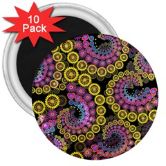 Spiral Floral Fractal Flower Star Sunflower Purple Yellow 3  Magnets (10 Pack)  by Mariart