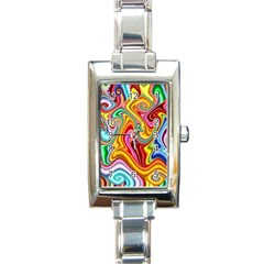 Rainbow Gnarls Rectangle Italian Charm Watch by WolfepawFractals
