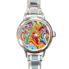Rainbow Gnarls Round Italian Charm Watch by WolfepawFractals
