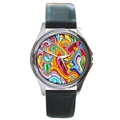 Rainbow Gnarls Round Metal Watch by WolfepawFractals