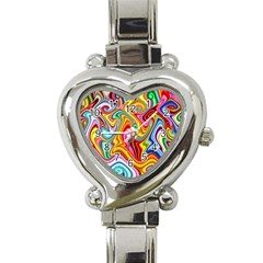Rainbow Gnarls Heart Italian Charm Watch by WolfepawFractals