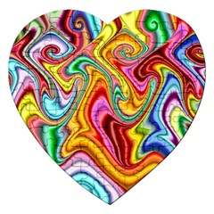 Rainbow Gnarls Jigsaw Puzzle (heart) by WolfepawFractals