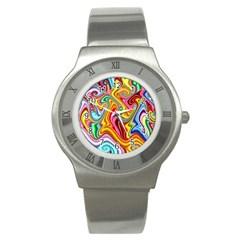 Rainbow Gnarls Stainless Steel Watch by WolfepawFractals