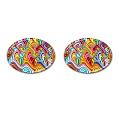 Rainbow Gnarls Cufflinks (oval) by WolfepawFractals