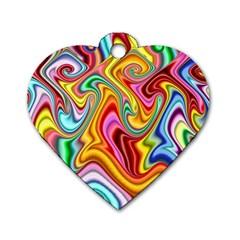Rainbow Gnarls Dog Tag Heart (one Side) by WolfepawFractals