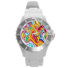 Rainbow Gnarls Round Plastic Sport Watch (l) by WolfepawFractals