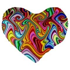 Rainbow Gnarls Large 19  Premium Heart Shape Cushions by WolfepawFractals