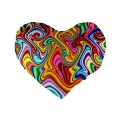 Rainbow Gnarls Standard 16  Premium Flano Heart Shape Cushions by WolfepawFractals