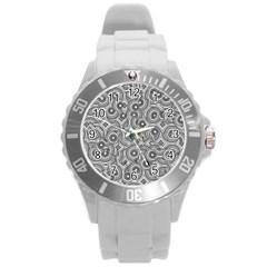 Broken Pattern F Round Plastic Sport Watch (l) by MoreColorsinLife