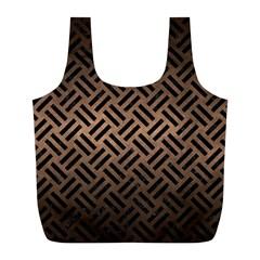 Woven2 Black Marble & Bronze Metal (r) Full Print Recycle Bag (l) by trendistuff