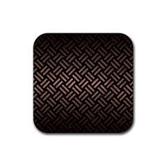 Woven2 Black Marble & Bronze Metal Rubber Square Coaster (4 Pack) by trendistuff