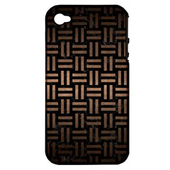 Woven1 Black Marble & Bronze Metal Apple Iphone 4/4s Hardshell Case (pc+silicone) by trendistuff