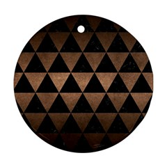 Triangle3 Black Marble & Bronze Metal Round Ornament (two Sides) by trendistuff