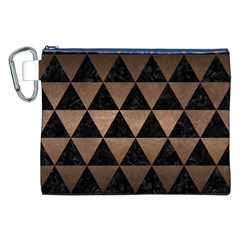 Triangle3 Black Marble & Bronze Metal Canvas Cosmetic Bag (xxl) by trendistuff