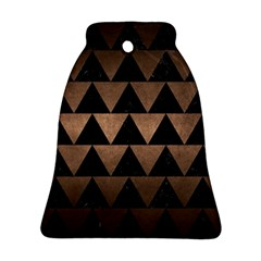 Triangle2 Black Marble & Bronze Metal Bell Ornament (two Sides) by trendistuff