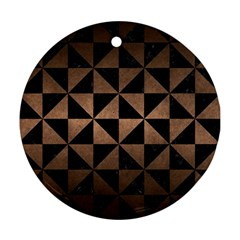 Triangle1 Black Marble & Bronze Metal Ornament (round) by trendistuff