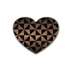 Triangle1 Black Marble & Bronze Metal Rubber Heart Coaster (4 Pack) by trendistuff