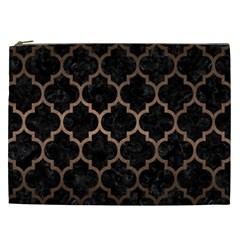 Tile1 Black Marble & Bronze Metal Cosmetic Bag (xxl) by trendistuff