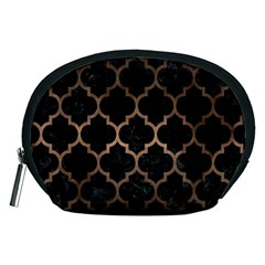 Tile1 Black Marble & Bronze Metal Accessory Pouch (medium) by trendistuff