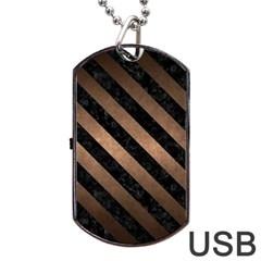 Stripes3 Black Marble & Bronze Metal (r) Dog Tag Usb Flash (two Sides) by trendistuff