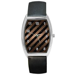 Stripes3 Black Marble & Bronze Metal Barrel Style Metal Watch by trendistuff