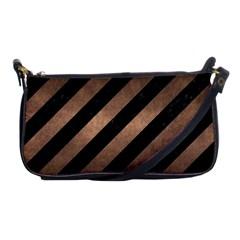 Stripes3 Black Marble & Bronze Metal Shoulder Clutch Bag by trendistuff