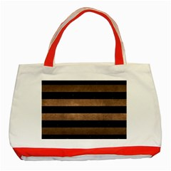 Stripes2 Black Marble & Bronze Metal Classic Tote Bag (red) by trendistuff