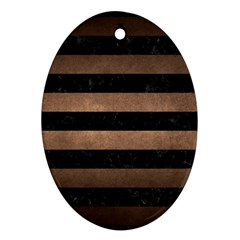 Stripes2 Black Marble & Bronze Metal Oval Ornament (two Sides) by trendistuff