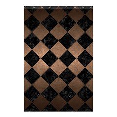 Square2 Black Marble & Bronze Metal Shower Curtain 48  X 72  (small) by trendistuff