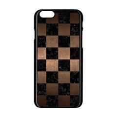 Square1 Black Marble & Bronze Metal Apple Iphone 6/6s Black Enamel Case by trendistuff