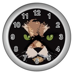 Cat  Wall Clocks (silver)  by Valentinaart