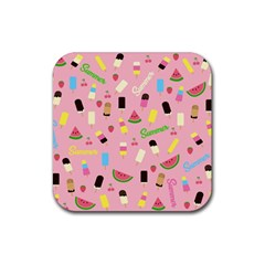 Summer Pattern Rubber Square Coaster (4 Pack)  by Valentinaart