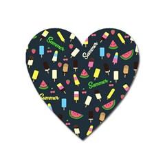 Summer Pattern Heart Magnet by Valentinaart