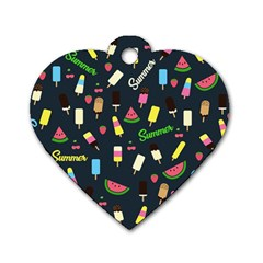 Summer Pattern Dog Tag Heart (one Side) by Valentinaart