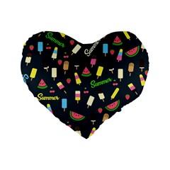 Summer Pattern Standard 16  Premium Flano Heart Shape Cushions by Valentinaart